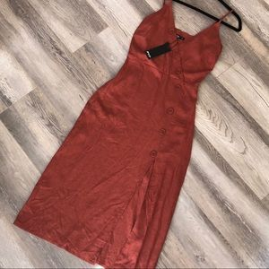 Nasty Gal Midi Dress Come Button Rust size 4